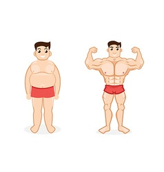 man before and after fitness vector image