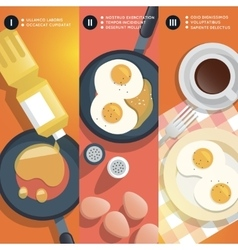 Frying scrambled eggs cooking instruction vector image vector image