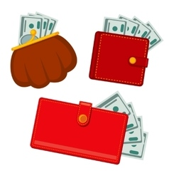 Wallet with money green dollars earnings vector image vector image