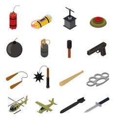weapons 3d icons set isometric view vector image vector image
