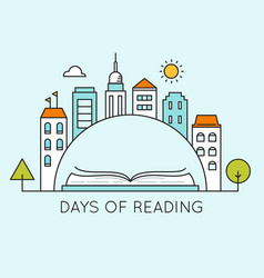 city and open book days of reading sign vector image