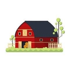 Farming barn flat for storing hay - vector image