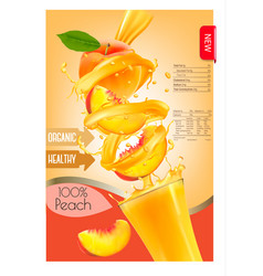 label of peach juice splash in a glass desing vector image vector image