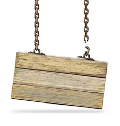 Old color wooden board with rusty chain vector image vector image