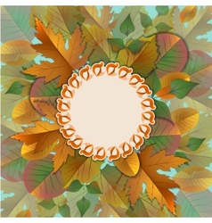 vintage frame with autumn leaves vector image vector image
