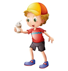 A boy with a disposable glass vector image