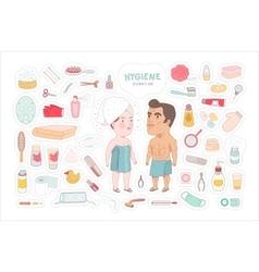 After shower bathroom stickers set Dodo People vector image