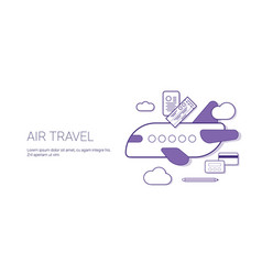 air travel and vacation concept fly on plane vector image