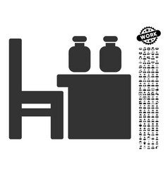 Apothecary table icon with professional bonus vector