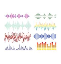 audio wave graph set vector image