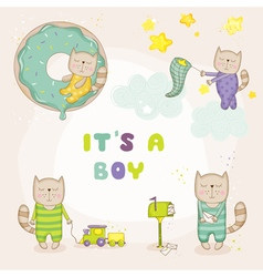 Baby cat set - shower or arrival cards vector