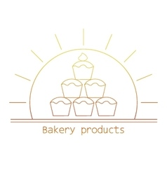 Bakery product mono line logo with cupcakes vector