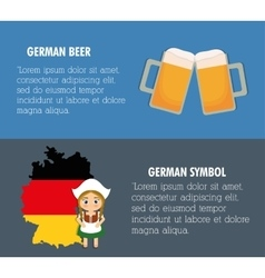 Beer Oktoberfest flag girl cartoon costume icon vector image