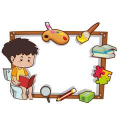 Border template with boy reading book vector
