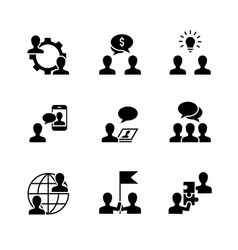 business cooperation black icons on white vector image