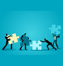 businessmen with puzzle piece vector image