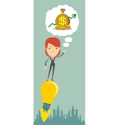 Businesswoman dreaming about money vector image