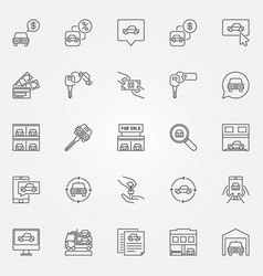 buying a car icons set vector image