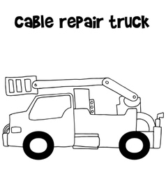 Cable repair truck with hand draw vector image