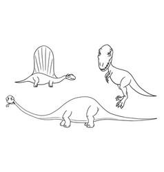 Cartoon set 03 of ancient dinosaur monsters vector