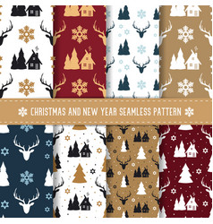 Christmas and new year seamless pattern set vector