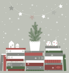 christmas card with christmas tree and books vector image