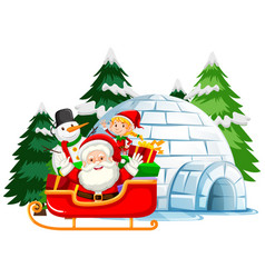 Christmas theme with santa and elf on sleigh vector