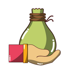 cloth bag to save things in the hand vector image