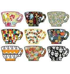 Collection of tea cups with different patterns vector