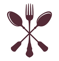 Crossed Spoons with Fork isolated on white vector