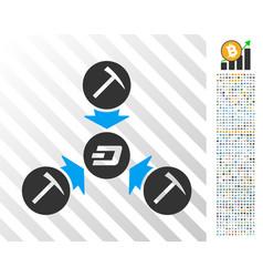 dash mining pool flat icon with bonus vector image