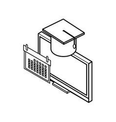 desktop computer with hat graduation vector image