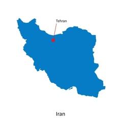 Detailed map iran and capital city tehran vector