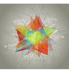 Diagram and Time Line design with glass geometric vector image