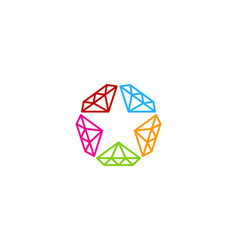 diamond star logo icon design vector image