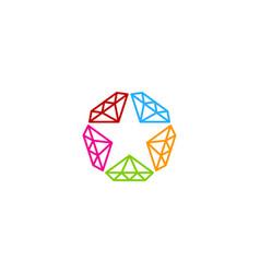 diamond star logo icon design vector image