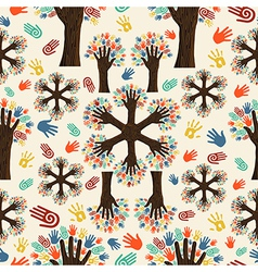 Diversity tree hands pattern vector image