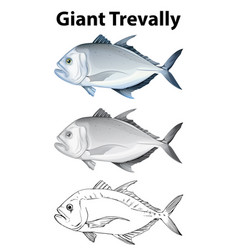 Doodle character for giant trevally vector