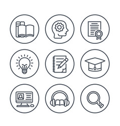 Education learning line icons in circles on white vector
