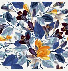 Elegant vintage seamless floral pattern crocus vector