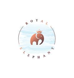 Elephant king logo watercolor rounded circle logo vector
