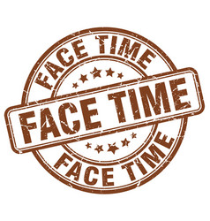 Face time brown grunge stamp vector