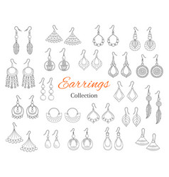 Fashionable earrings collection hand drawn vector
