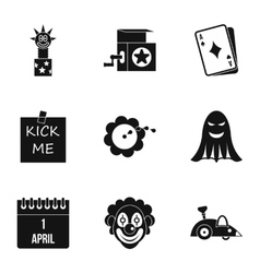 First of April icons set simple style vector