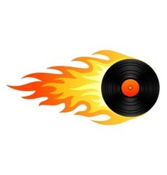 Flaming vinyl vector image