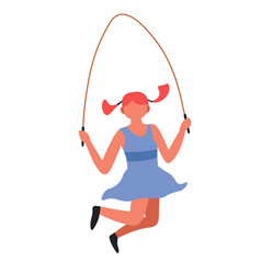 Girl jumping with skipping rope child playing game vector