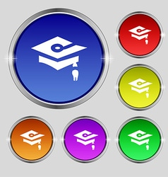 Graduation icon sign round symbol on bright vector