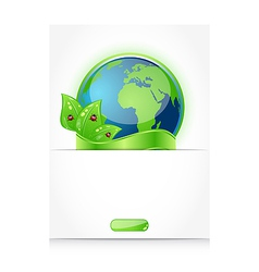 Green earth with leaves and ladybugs paper with vector image