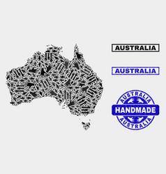 Handmade composition australia map and distress vector