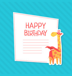 happy birthday invitation card template with cute vector image